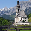 Church of Ramsau near Berchtesgaden with the Reiteralpe mountain — Stock Photo #13138659