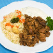 Gyros with vegetable rice and Tsatsiki — Stock Photo