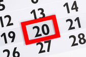 Calender with marked 20th — Stock Photo