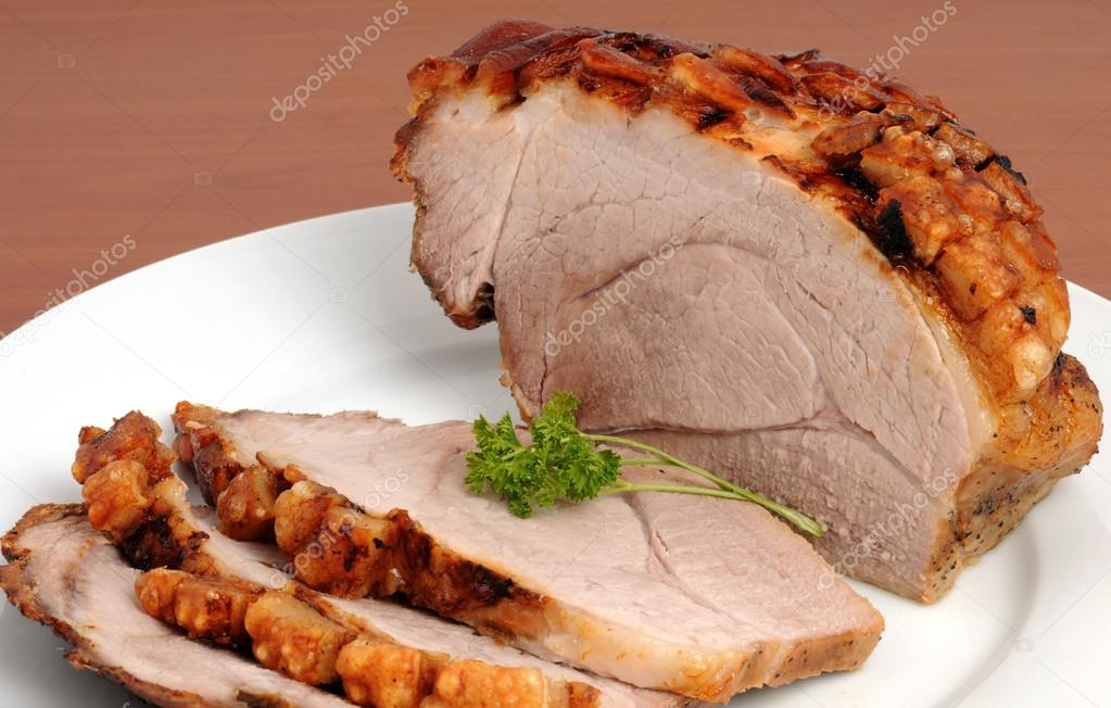 Typical Bavarian roast pork in a studio shot — Stock Photo #13135543