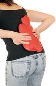 Ung smal kvinna har en backage — Stockfoto