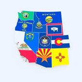 Usa west region state flags on map — Stock Photo