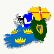 Ireland four provinces flags on 3d map - 图库照片