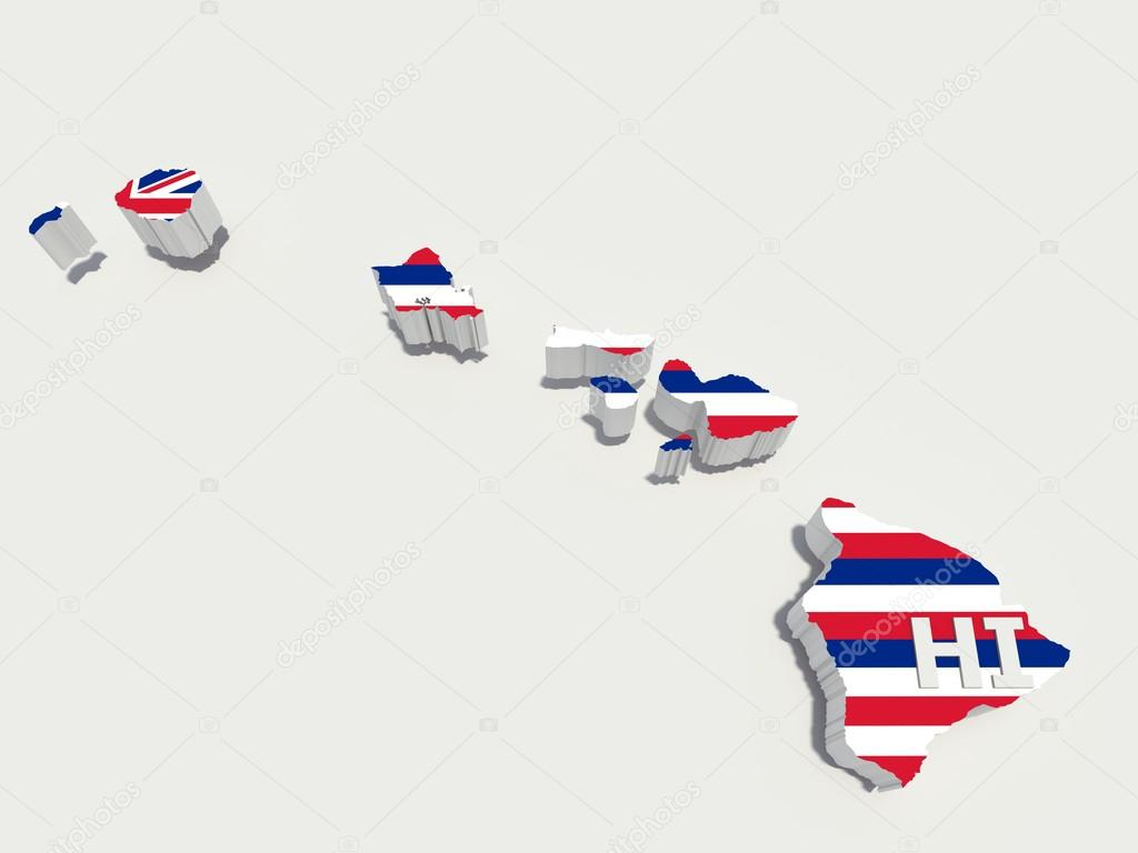 Hawaii Flag On 3d Map U2014 Stock Photo U00a9 Godard #15183279