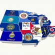 Usa midwest region state flags on map — Stock Photo
