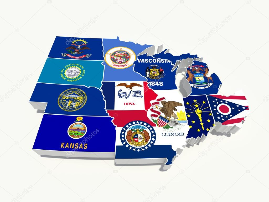 Usa midwest region state flags on map — Stock Photo #15558127