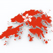 Hong kong flag on 3d map - Stock Photo
