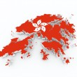 Hong kong flag on 3d map — Stock Photo