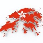 Hong kong flag on 3d map — Stock Photo #15831273