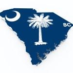 South Carolina flag on 3d map — Stock Photo #17368439