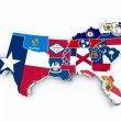 South region flags on 3d map — Foto de Stock