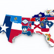 South region flags on 3d map — Stockfoto