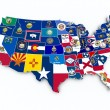 USA state flags on 3d map — 图库照片
