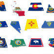 Usa west states flags on 3d maps — Stock Photo