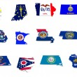 Usmidwest states flags on 3d maps — Foto Stock #34826525