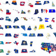 Stock Photo: Usstate flags on 3d maps