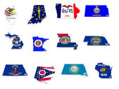 Usa midwest states flags on 3d maps — Stock Photo