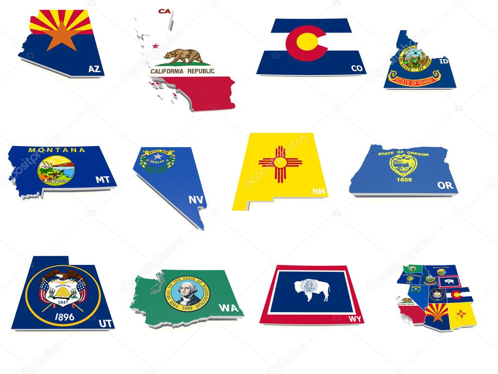 Usa West States Flags On D Maps  Stock Photo  Godard - 3d map usa states
