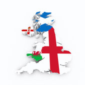 Britain flags on 3D map — Stock Photo