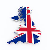 Britain flag on 3D map — Stock Photo