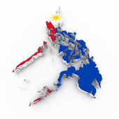 Phillippines flag on 3d map — Stock Photo