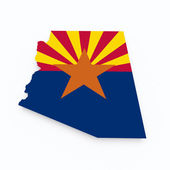 Arizona state flag on 3d map — Stock Photo