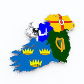 Ireland flag on 3d map — Stock Photo