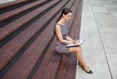 Beautiful Woman Taking Notes — Stock Photo