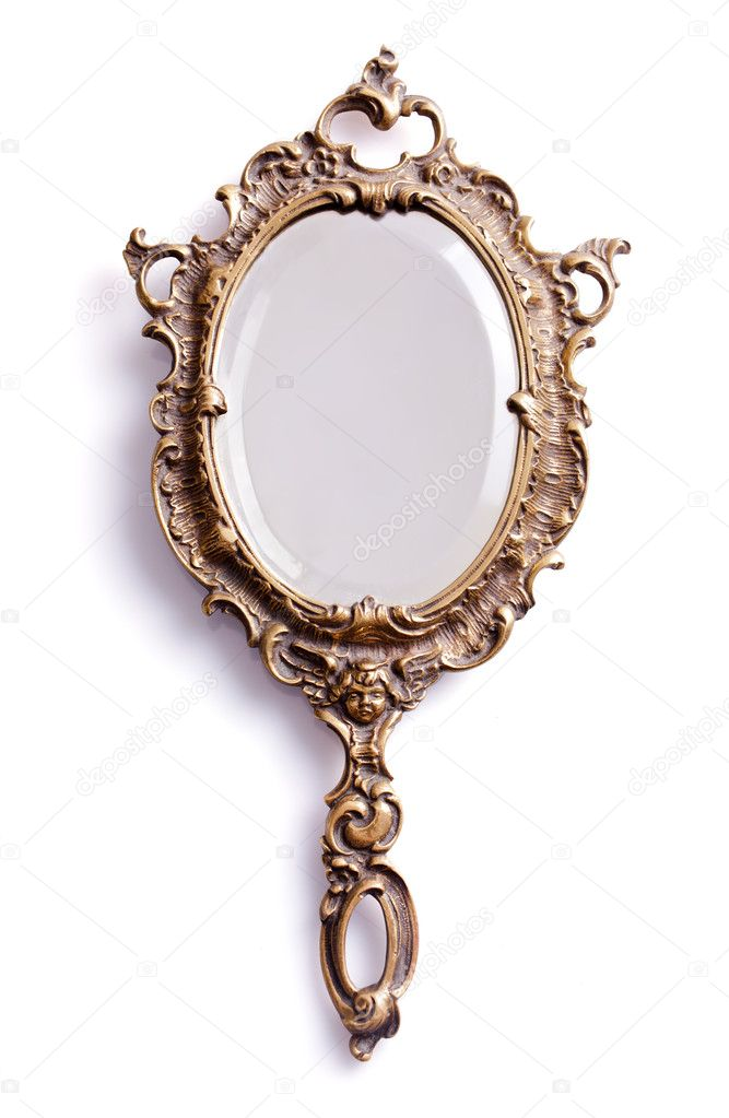 Hand mirror stock photo ilyashapovalov 12157333 for Miroir antique en bois