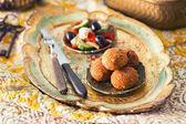 Falafel balls with salad — Stock Photo