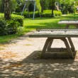 Ping pong tables in a public park playground - Stock Photo