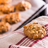 Taking peanut cookies out of an oven — Stock Photo