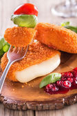Baked Camembert with Cranberry Sauce — Stock Photo