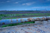 Night industrial oil refining pipeline — Stock Photo