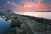 The breakwater and Urban dusk Caixia — Stock Photo
