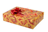 Box with a gift on white — Stock Photo
