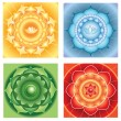 Bright abstract circle backgrounds, mandalas of different chakra — Векторная иллюстрация