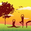Silhouette of three women making gymnastics exercises on summer field near tree, yellow sky — Stock Vector