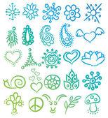 Muchos símbolos étnicos diferentes y ornates vector — Vector de stock