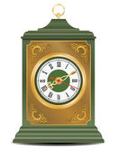 Bronze and green old antique clock, vector — Stock Vector
