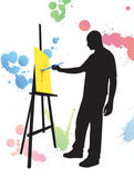 Man sanding painting on easel — Stock Vector