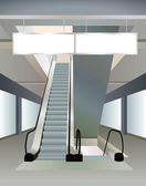Escalator in shopping center, the vector — Vecteur
