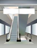 Escalera mecánica en el centro comercial, el vector — Vector de stock