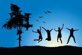 Vier vrienden springen op veld in de buurt van boom, blauwe hemel — Stockvector