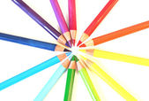 Color pencils in a circle, isolated — Stock Photo