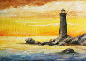 Oil painted picture with sea, sunset and beacon — Stock Photo