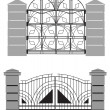 Stock Vector: Silhouette of old street gates
