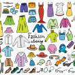 Stock Vector: Fashion and clothing color icons vector collection