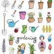 Gardening color icons vector collection — Stock Vector