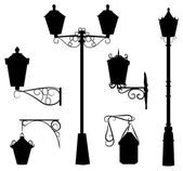 Silhouette of antique outdoor lamps — Stock Vector